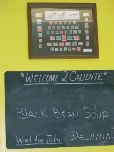 Caliente Restaurant seeks to teach its customers Spanish words on daily basis.