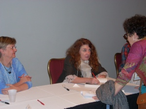 Author during book signing-- Franny Billingsly, author of new novel, Chime.