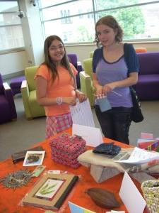 Students loved inspecting recycled items for sale at Creative Women of the World.