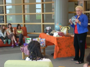 Jeannie Johnson showed items made by people around the world from recycled items.