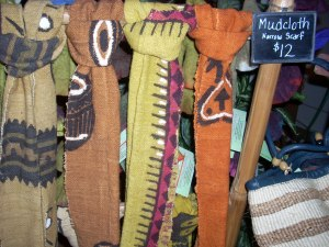 Mud cloth scarves vailable at Creative Women of the World