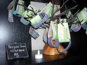 Denim wristbands from Haiti available at Creative Women of the World shop.