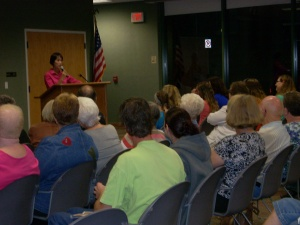 More than 100 people attended a book talk/signing by best-selling author Tess Gerritsen at Wells County Public Library.