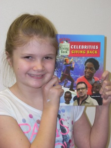 Victoria loved my book Celebrities Giving Back.