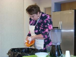 Cutting up a papaya at the demo.