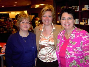 My two good writing friends Cathy Shouse, Shirley Jump & me at Shirley's former writing club meetings.