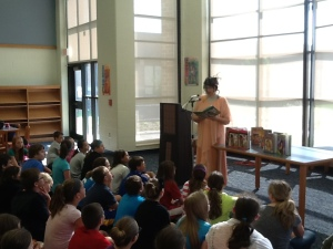 Reading excerpt from my book to Wayne Center Elem students during author visit.