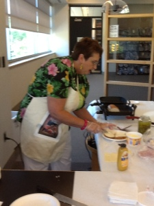 Preparing Cuban sandwiches from recipe in Now You're Cooking: Cuba.