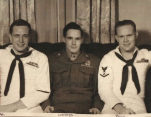 Al Edwards (left) and two brothers who also served in WWII-- Herb (mid) and Bill.