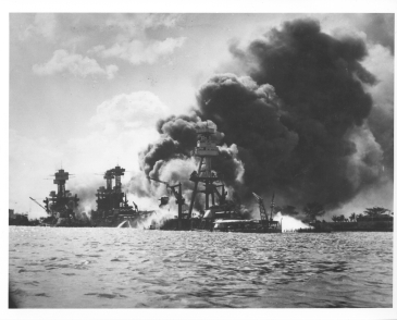 Burning and damaged ships at PHa result of Jap attack, 12-7-41. L. to R. USS AZ, USS TN, USS WV